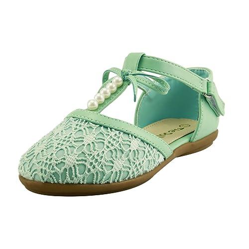 b42abe950085 Stylish Elegant Girl s Lace Pearl T-strap Flat Sandal Shoes 3 Colors Closed  Toe (