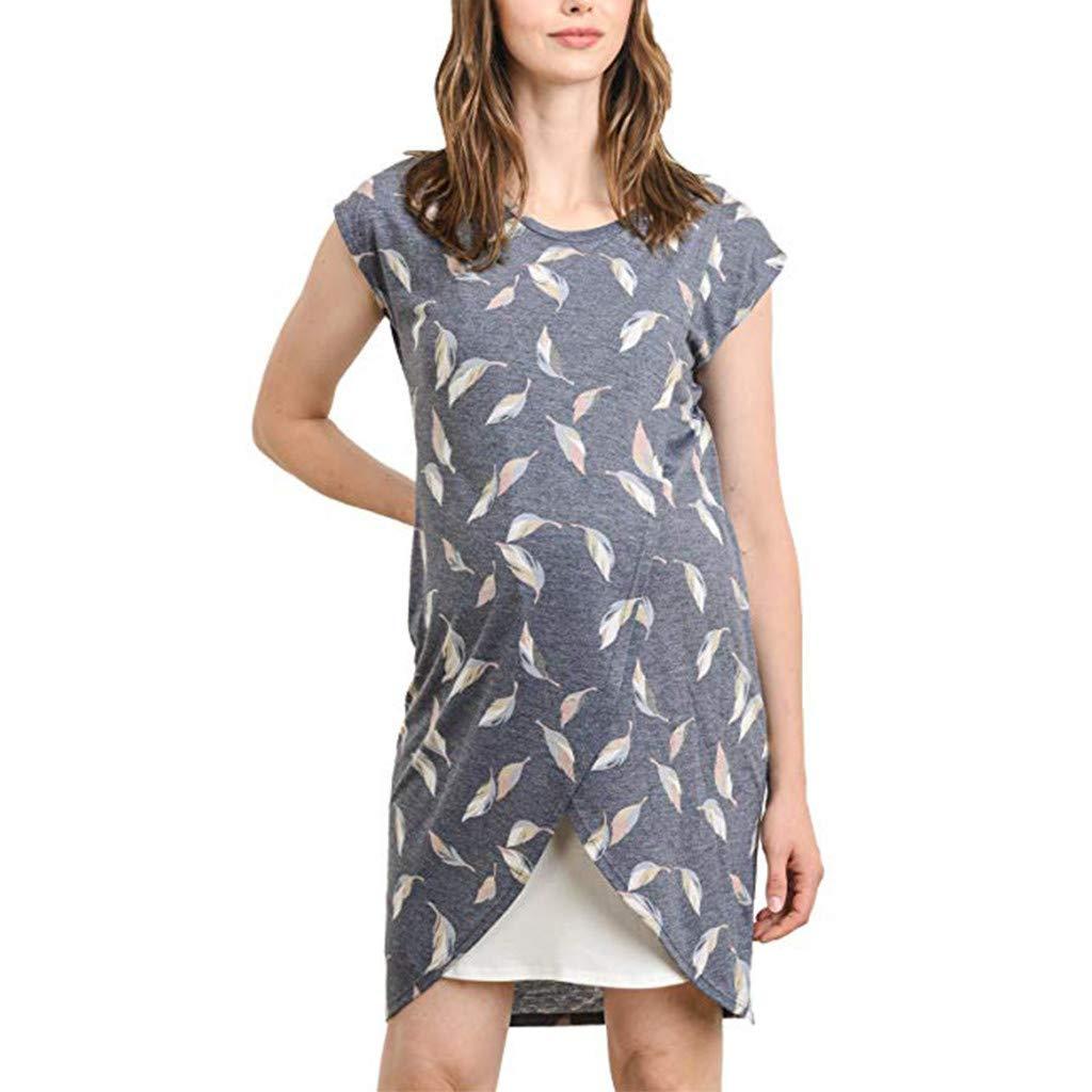 Maternity Breastfeeding Dresses Summer Slim Fit Sleeveless Leaf Print Top Shirt (XXL, Navy)