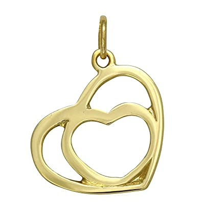 Solid 9ct yellow gold two hearts pendant charm for necklace solid 9ct yellow gold two hearts pendant charm for necklace jewellery gift chain not included aloadofball Images