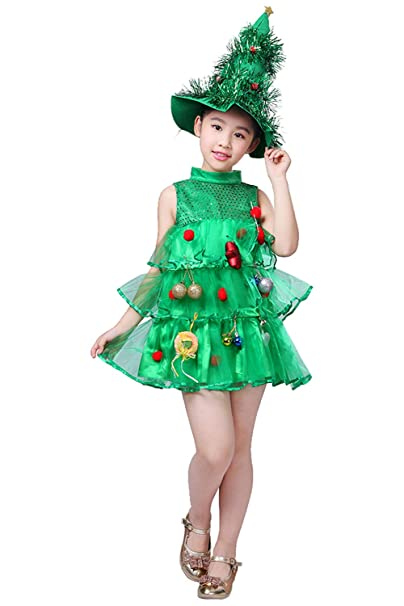Toddler Christmas Tree Costume.Kids Little Girls Christmas Tree Costume Dress Xmas Party Costume Outfit With Hat