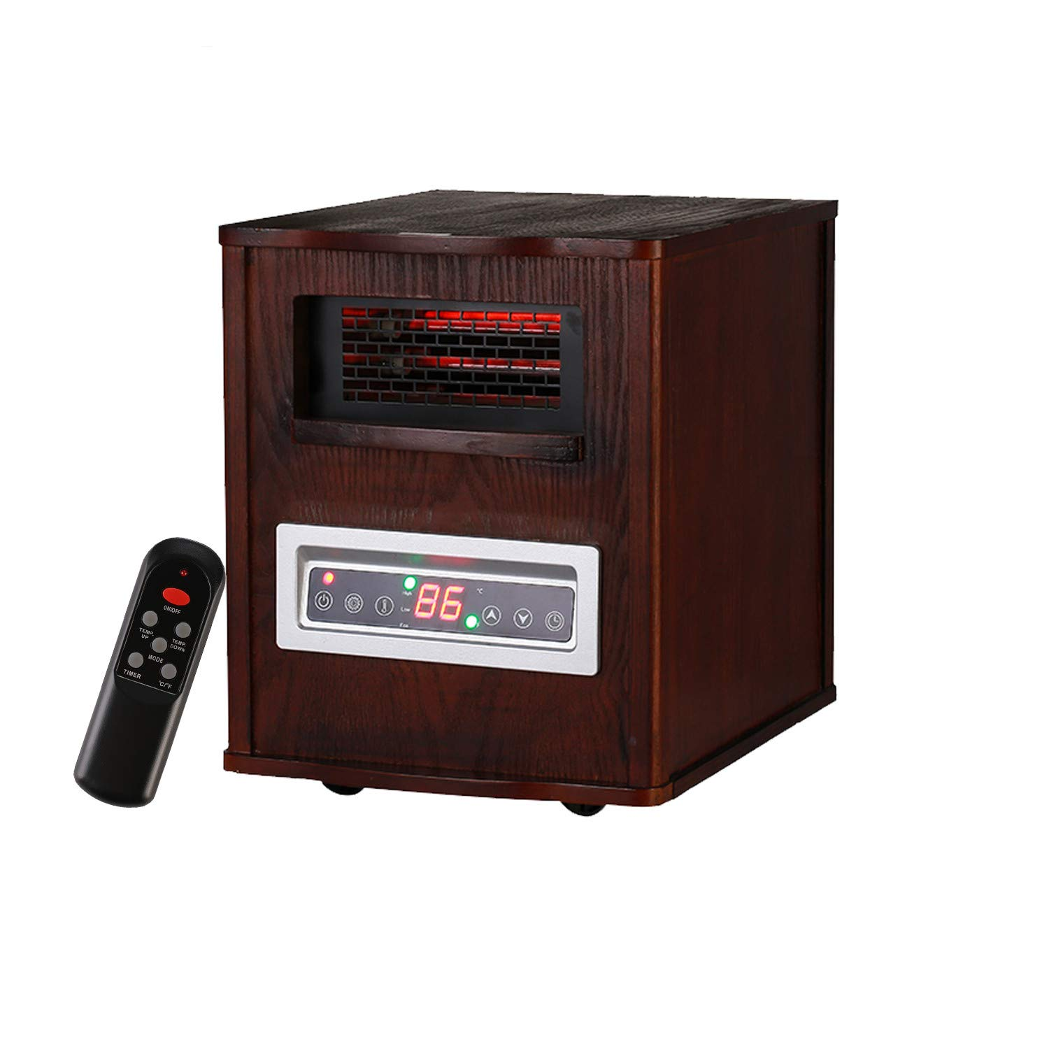 KOOLWOOM Portable Electrci Space Heater Infrared Zone Heating Systems with Thermostat for Office and Home,Tip-Over and overheat Protection Remote Control 12hr Timer Filter 1000W-1500W Dark Walnut
