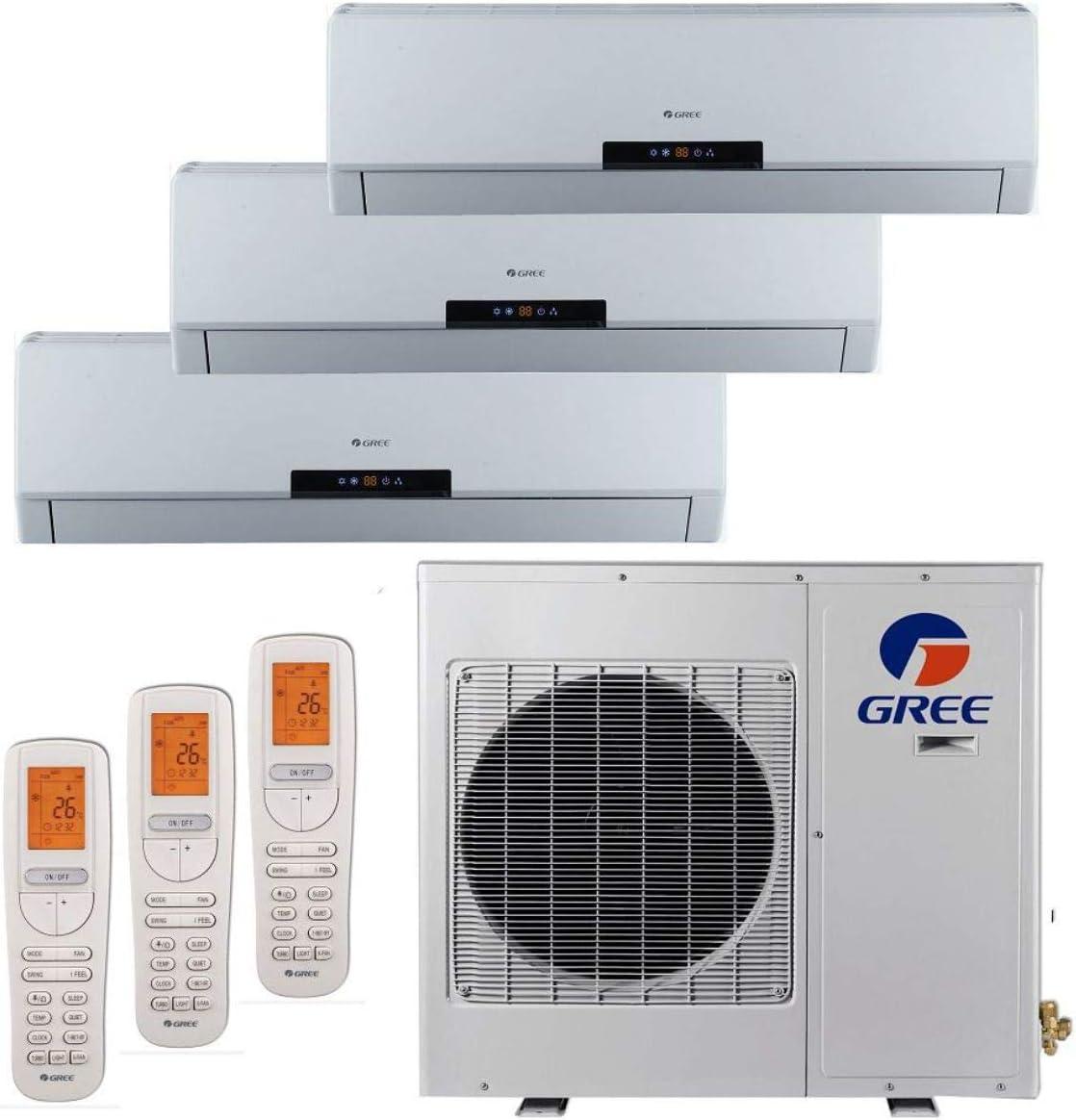 Gree MULTI24BNeo301-24,000 BTU Multi Tri-Zone Wall Mount Mini Split A C Heat Pump 208-230V 9-9-12 A C Heater