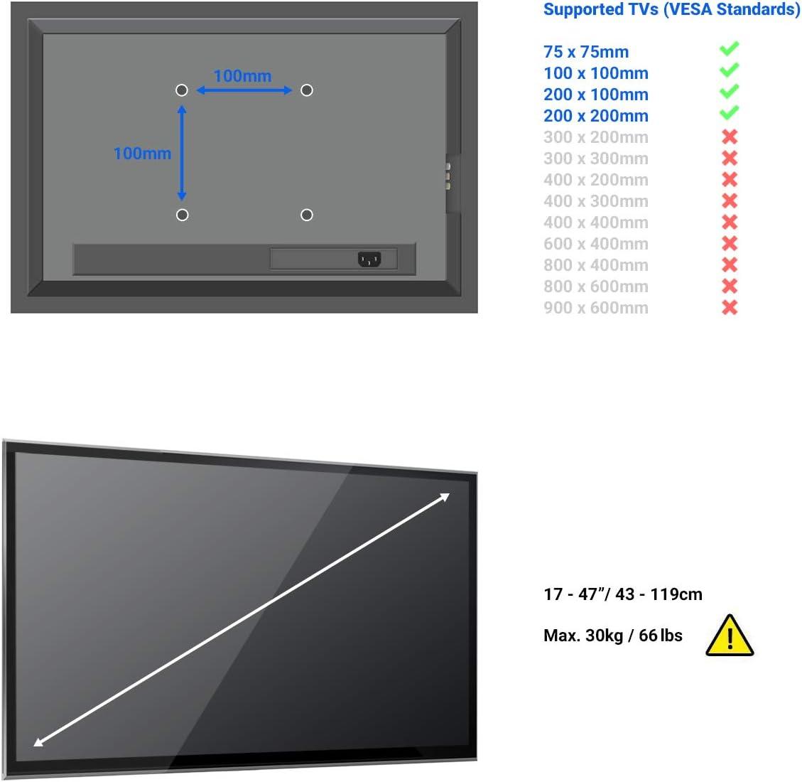 deleyCON Universal TV y Monitor Soporte de Pared 17