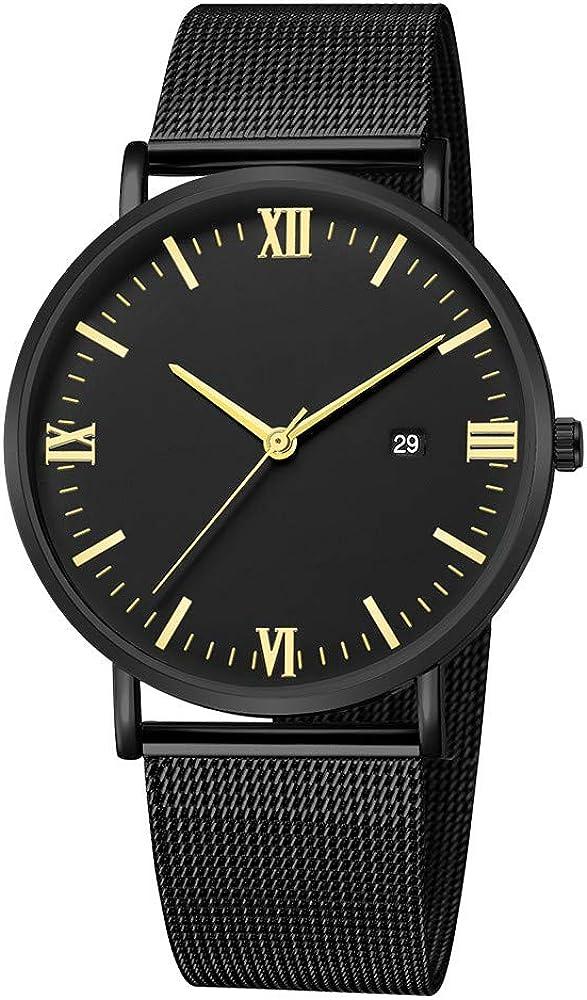 Darringls_Reloj,Reloj de Acero Inoxidable Negro Clásico Calendario de Moda Clásico Diseñador Analógico Cuarzo Fecha de Negocios