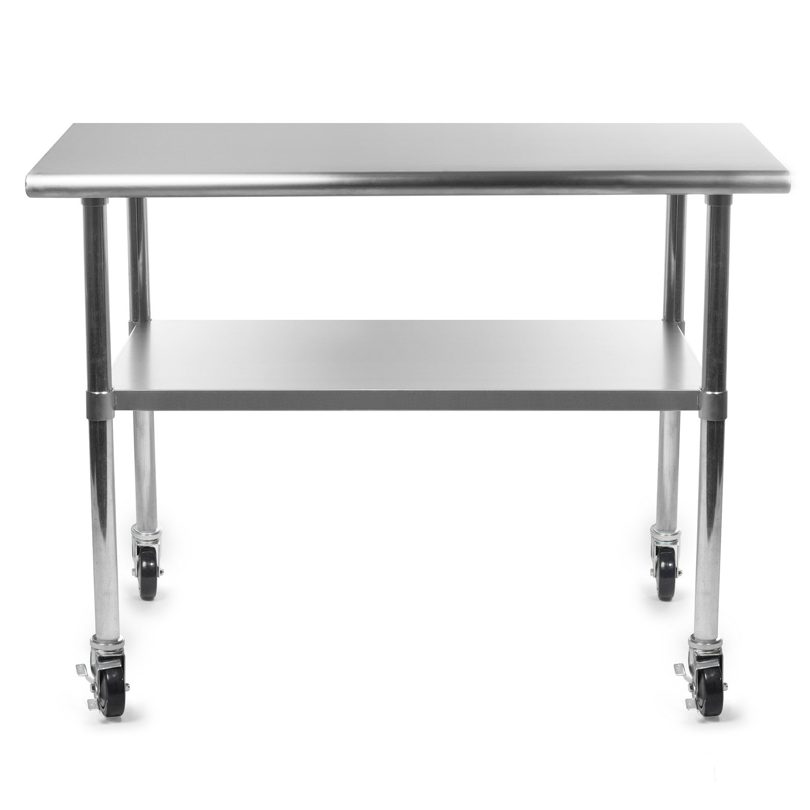 Gridmann NSF Stainless Steel Commercial Kitchen Prep & Work Table w/ 4 Casters (Wheels) - 48 in. x 24 in. by Gridmann (Image #3)