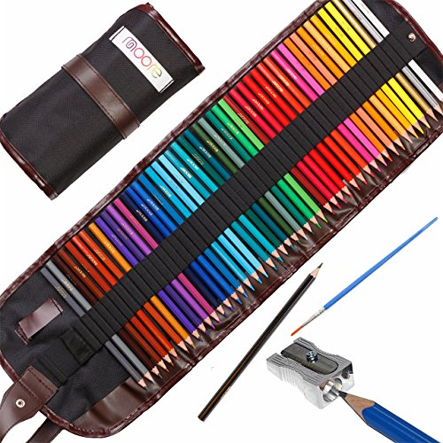 - Moore: Premium Art Color Pencils Set of 48 pcs Pre-Sharpened Vibrant Colors for Adult Coloring and Kids, with Free Kum Alloy Metal Sharpener (Made in Germany) in a Canvas Roll up Case,