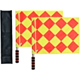 Haploon Soccer Ref Flags Football Rugby Linesman 2pcs Checkered Referee Flags Metal Pole Foam Handle with Carring Bag…