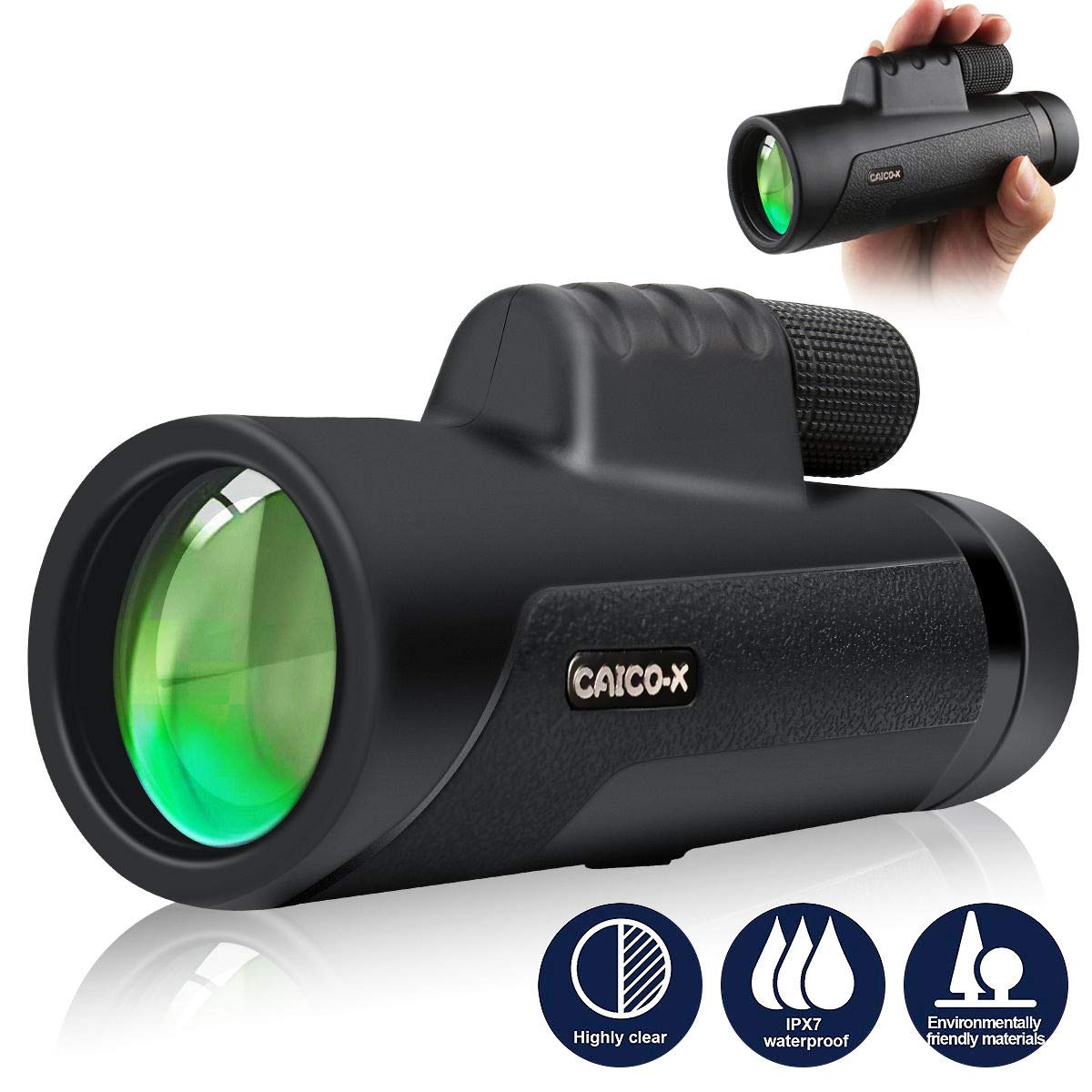 12×50 Monocular Telescope, CAICO-X High Power HD Monocular with Smartphone Holder and Tripod for Watching Bird, Hiking, Hunting, Camping