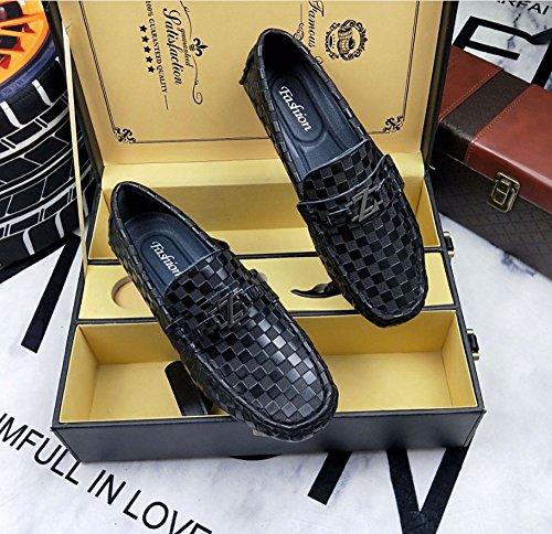 zapatos perezosos Zapatos de fondo pies pie de plano pedal de Color guisantes Negro de los de zapatos Tamaño hombres pies 38 Un zapatos HAOYUXIANG los de Negro de cuero ocio XwdBvqXS