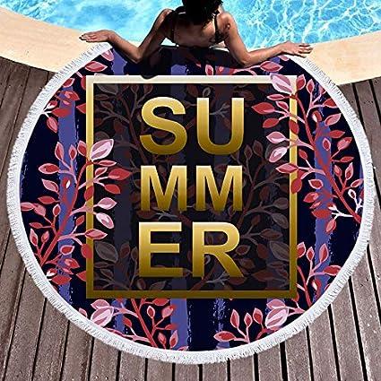 Amazon.com: WLEZY Beach Towel Summer Microfiber Round Beach ...