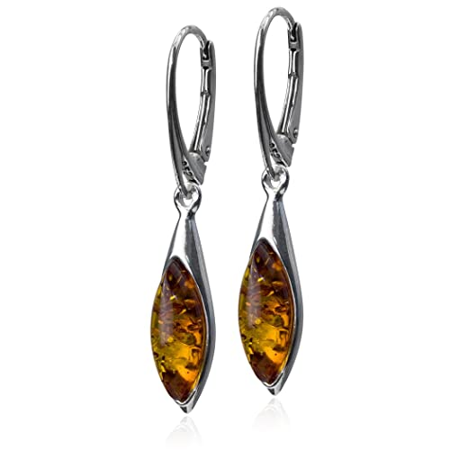 d16b79b94c Sterling Silver Amber Marquise Small Leverback Earrings