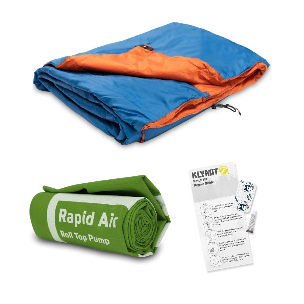 Klymit Versa Lightweight Insulated Blanket (Blue/Orange) with Camping Accessories Bundle Outdoor Patch Kit and Rapid Air Pump Included in Bundle by Klymit