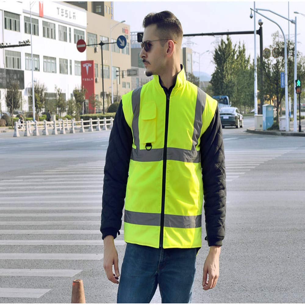 GSHWJS- trash can Reflective Cotton Coat High Speed Traffic Warning Duty Safety Jacket, Green Reflective Vests (Size : S) by GSHWJS- trash can (Image #4)
