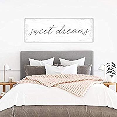 Vontuxe Sweet Dreams Wall Art Above Bed Signs, Sweet Dreams Over The Bed Wall Decor Master Bedroom, Guest Bedroom, Nursery Sweet Dreams Sign 836917: Kitchen & Dining