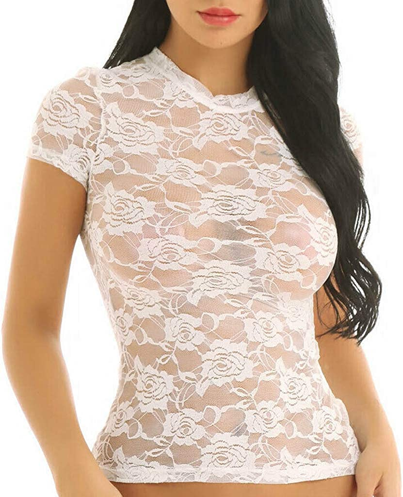 Yajiemen Womens Sheer Mesh Lace See-Through Long Sleeve Crop Tops Casual T Shirt