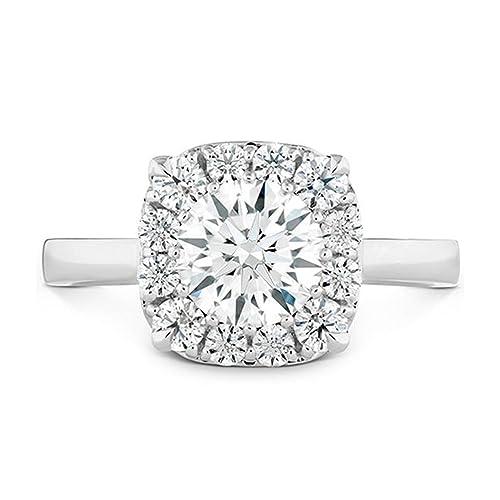 Sólido 14 K oro blanco solitario anillos para mujer boda banda corte redondo 1.10 ct. Diamante simulado bis Hallmarked oro anillo de compromiso color D ...