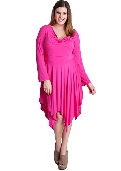 Woman Plus Size Hot Pink Asymmetrical Draped Cowl Neck Dress At