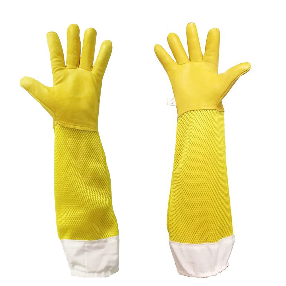 Premium Goatskin Beekeeping Gloves, Luwint Breathable Bee Beekeeper Gloves with Long Ventilated Mesh Sleeve and Elastic Cuffs for Beekeeping Gardening Work (Medium, Yellow) Lw-CWBeeGloM-YL