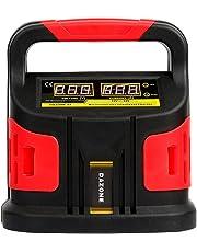Dazone batería Cargador auto y moto, automático Cargador Coche (para baterías de coche de 20–200Ah, tensión de carga 12V/24V, Progreso indicador de carga)