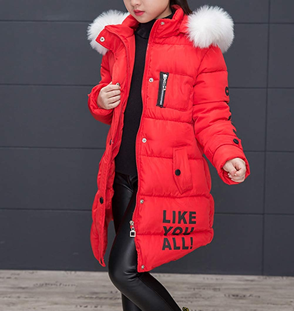 Bevalsa Doudoune /à Capuche Fille Enfant Parka Mode Hiver Chaud Veste Capuche Manteau Longue Blouson Fausse Fourrure Chaud Hiver Enfant /Épaisse Veste Rouge Noir