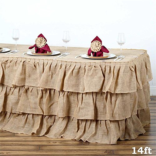 BalsaCircle 14 feet x 29-Inch Natural Brown 3 Tiers Ruffled Burlap Table Skirt Linens Wedding Party Event Decorations Kitchen Dining]()