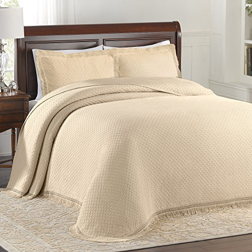 Lamont Limited Home Bedspread, Queen, Ivory,Woven Jacquard