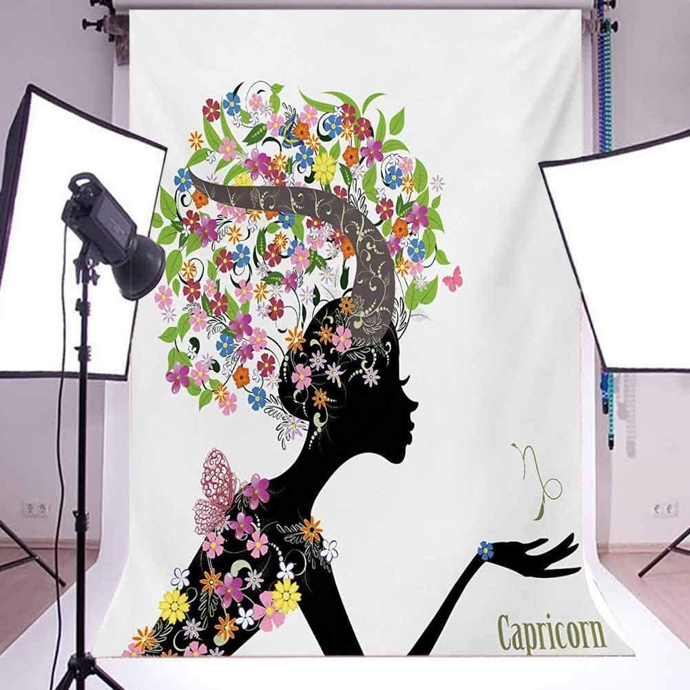 Woman Silhouette with Horns and Blooming Colorful Floral Elements Design Background for Baby Birthday Party Wedding Vinyl Studio Props Photography Zodiac Capricorn 10x12 FT Photography Backdrop