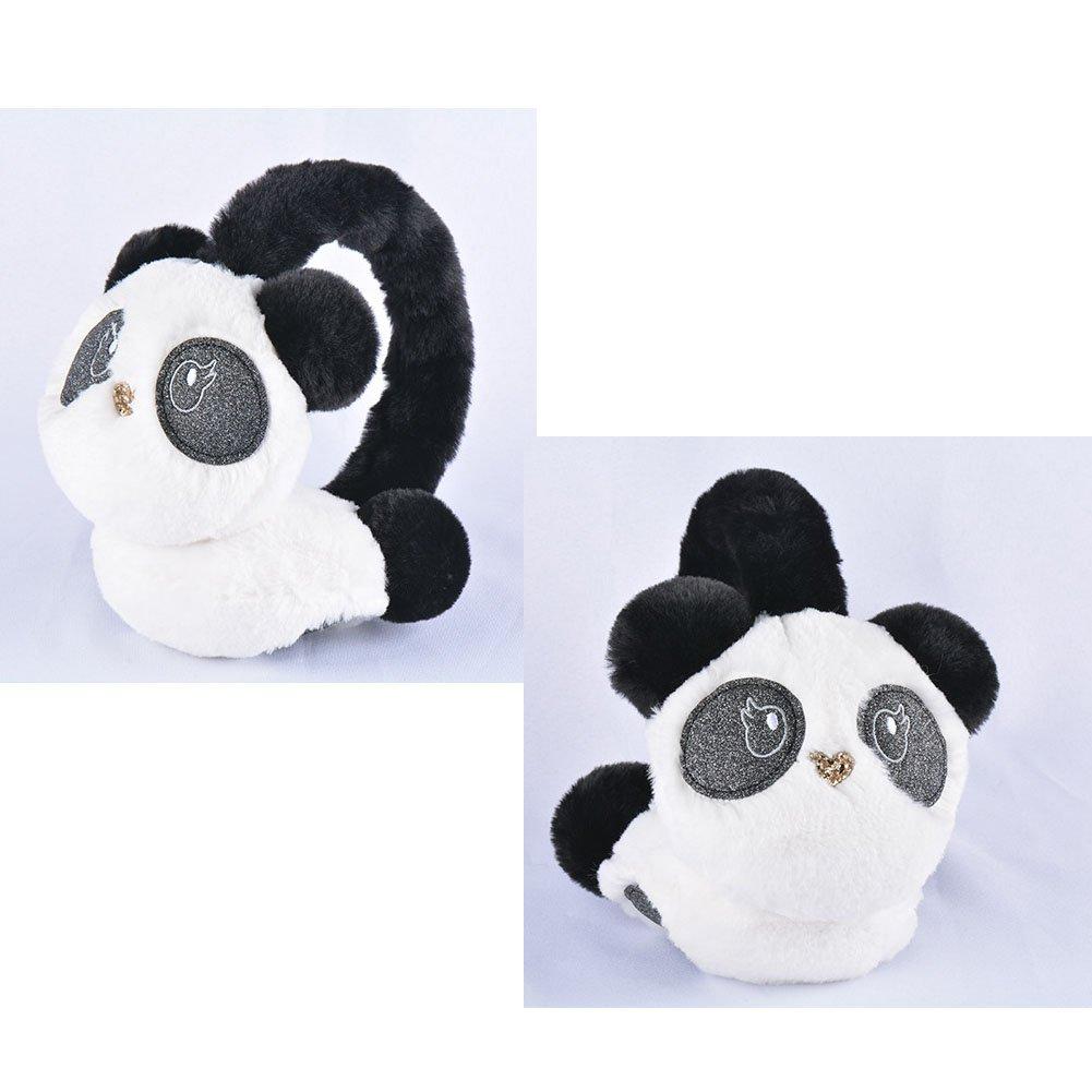 YUYUGO Panda Ear Muffs Earmuff Ear Warmer Plush Panda Faux Fur Knitted Earmuffs for Woman Girl Kids