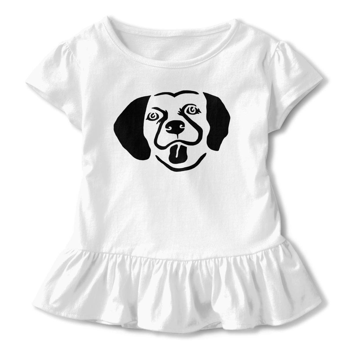 JVNSS Dog Face Shirt Printed Toddler//Infant Flounced T Shirts Tee Shirts for 2-6T Kids Girls