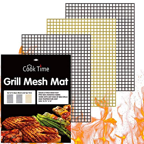 BBQ Grill Mesh Mat Set of 3 - Non Stick Barbecue Grill Sheet Liners Teflon Grilling Mats Nonstick Fish Vegetable Smoking Accessories - Works on Smoker,Pellet,Gas, Charcoal Grill,15.75x13inches ()