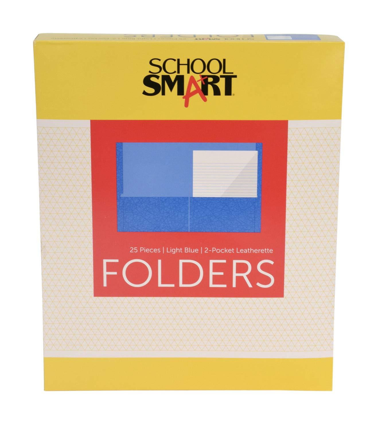 School Smart 2-Pocket Folders, Light Blue, Pack of 25 by School Smart