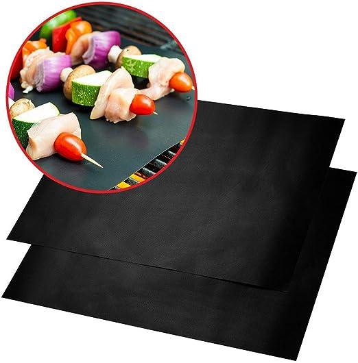 4 Alfombrillas para Barbacoa Resistentes al Calor y a la Temperatura antiadherentes BESTONZON para Horno Color Negro