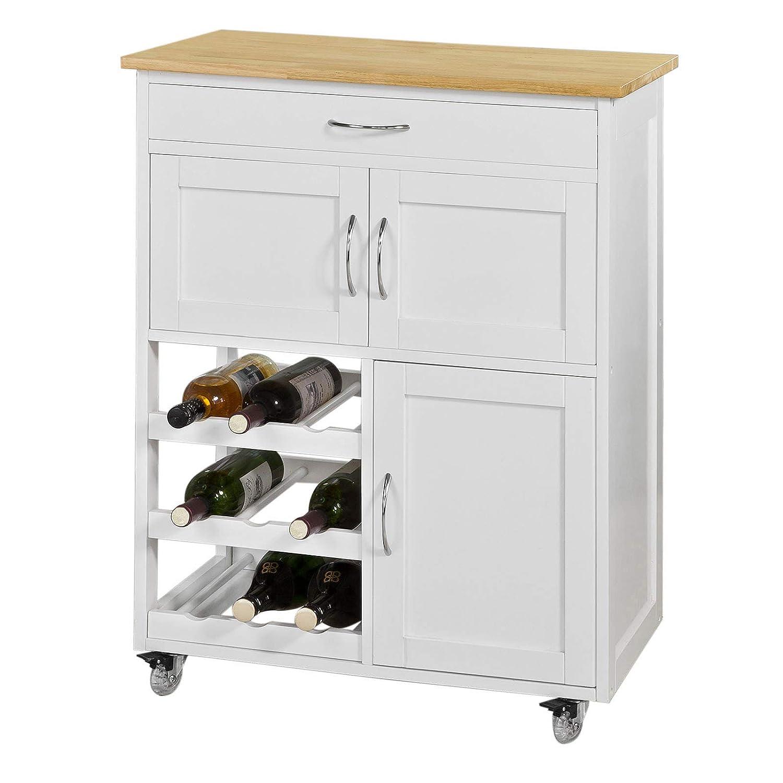 Sobuy Fkw45 Wn Kitchen Storage Serving Trolley Cart With Rubber Wood Worktop Kitchen Storage Cabinet