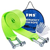 "FMS Nylon Recovery Heavy Duty Tow Strap with 2 Safty Hooks & Free Carry Case, 2"" x 12.5',11000lb Capacity (Green)"