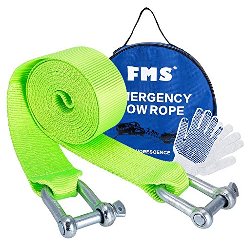 FMS Nylon Recovery Heavy Duty Tow Strap with 2 Safty Hooks & Free Carry Case, 2