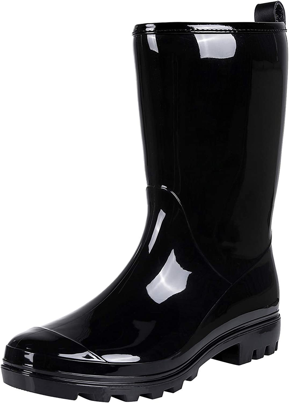 Colorxy Women's Waterproof Garden Rain Boots - Colorful Floral Printed Mid-Calf Garden Shoe Classic Short Wellies Rainboots