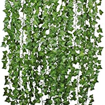 Hogado 84 Feet Artificial Hanging Plants Fake Vines Silk Ivy Leaves Greenery Garland for Wedding Kitchen Wall Outdoor Party Festival Decor