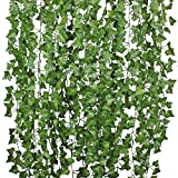 Artificial Hanging Plant Hogado 84 Feet Silk English Ivy Vine Garland Arrangement Faux Fake Flower Green Leaves Wreath Home Kitchen Garden Office Wedding Wall Banister Cosplay Costume Decor Pack of 12