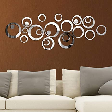 Amazon Com Adarl 24pcs Modern Home Decor 3d Acrylic Mirror Round Wall Stickers Removable Art Decals Mural Living Room Office Decoration Home Kitchen