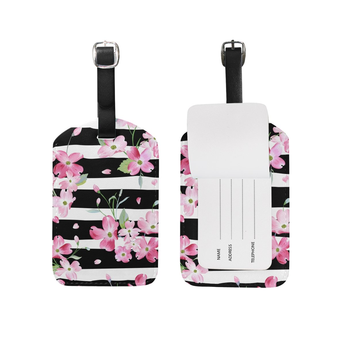 U LIFE Spring Summer Floral Flowers Striped Luggage Tag Travel Baggage Tags by ALAZA