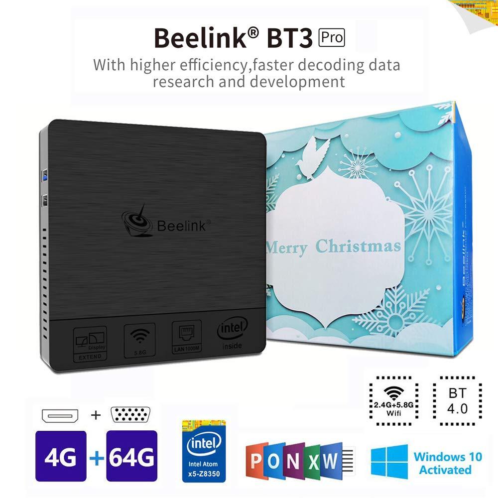 Beelink BT3PRO II Mini PC, Mini Ordenador de Sobremesa Mini Computadora con Windows 10, HDMI&VGA, Procesador Intel Atom X5-Z8350, 4GB+64GB, 2.4G/5G Dual WiFi, BT 4.0, 4K@30Hz, 1000 Mbps LAN
