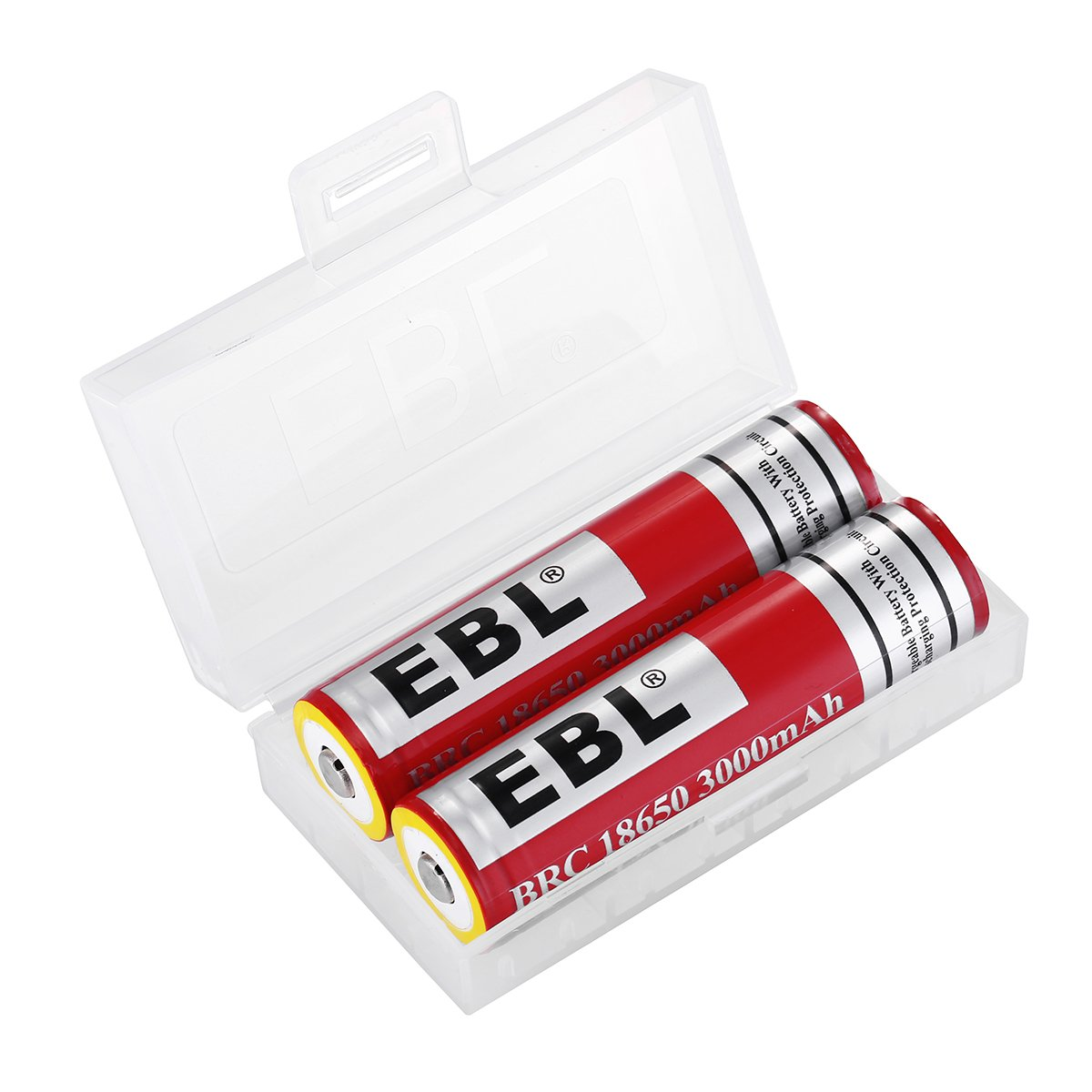 EBL Upgraded 18650 3.7V Rechargeable Batteries 3000mAh with Strong Yellow Protection Ring - PCB Protected - 2 Pack