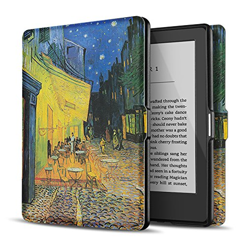 TNP Case for Kindle Paperwhite - Slim & Light Smart Cover Case with Auto Sleep & Wake for All-New Amazon Kindle Paperwhite Fits All 2012, 2013, 2015 and 2016 Versions (Cafe at Night - Van Gogh)