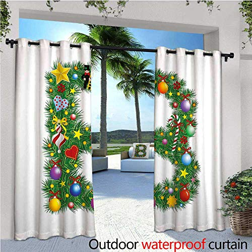 Christmas Trees Design Goblet - Letter B Outdoor Privacy Curtain for Pergola Tasty Candy Cane and Figure with Top Hat Suit Christmas Tree Design with B Print Thermal Insulated Water Repellent Drape for Balcony W120