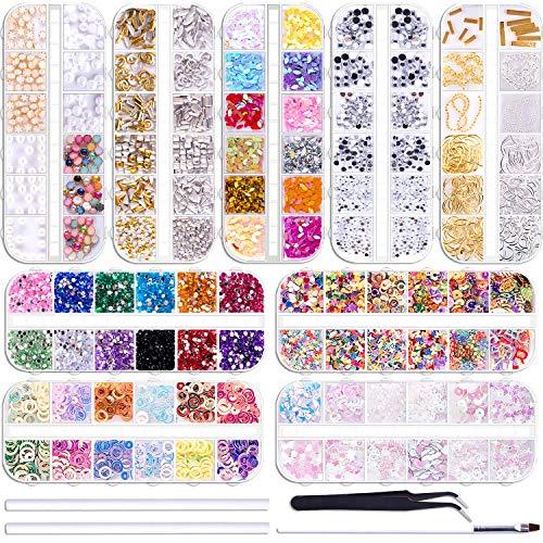 Duufin 12890 Pcs Nail Art Rhinestones Nail Art Crystal Jewels Nail Gems Nail Studs with 1 Pick up Tweezers and 2 Wax Pens for Nail Art Supplies