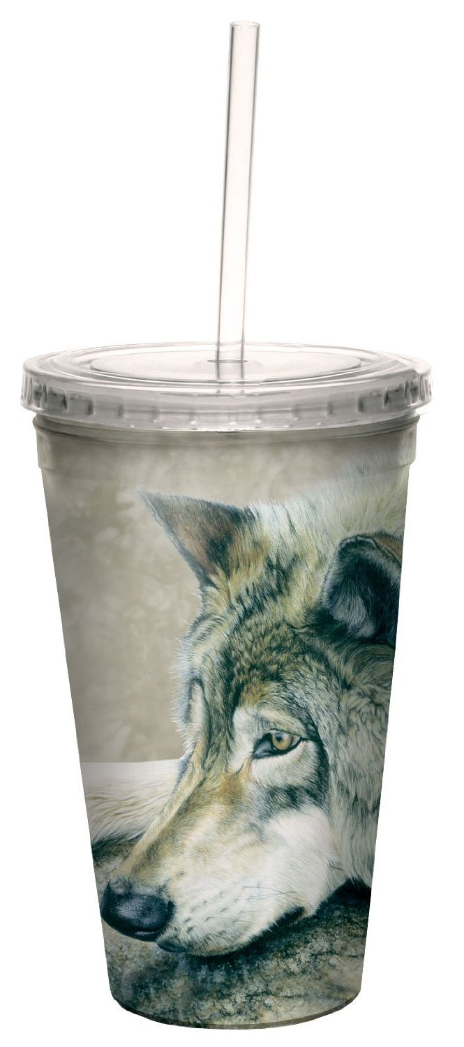 On the Edge Wolf Double Wall Cool Travel Cup with Straw, 16-Ounce - Gift for Lovers of Wolves - Tree-Free Greetings 80001
