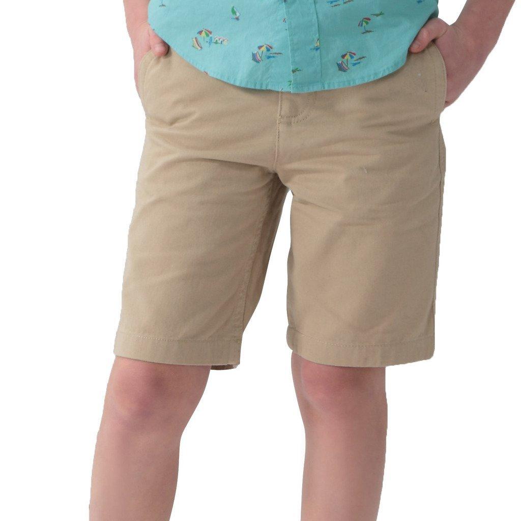 Leo&Lily Boys' Kids Elastic Waist Casual Fine Cotton Chino Shorts (Khaki, 16)