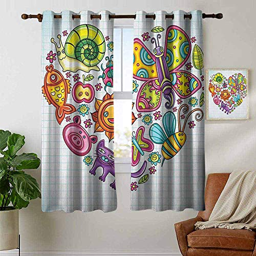 - petpany Blackout Curtain Panels Window Draperies Doodle,Flora and Fauna Themed Heart Animals Birds and Plants Bumblebee Ladybug Leafs Cat, Multicolor,for Bedroom, Kitchen, Living Room 42