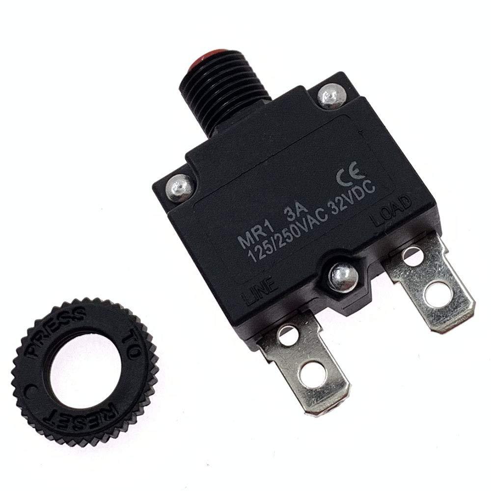Yoiilnz 2Pcs 125-250VAC 32VDC Push Button Circuit Breaker 3Amp Thermal Overload Protector Manual Reset Thermal Circuit Breaker 3A Fuse