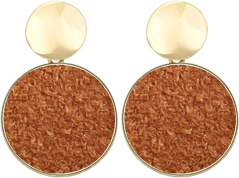 Wine Red Mosichi New Style Fashion Geometric Square Handmade Plush Dangle Stud Earrings Party Jewelry Gift